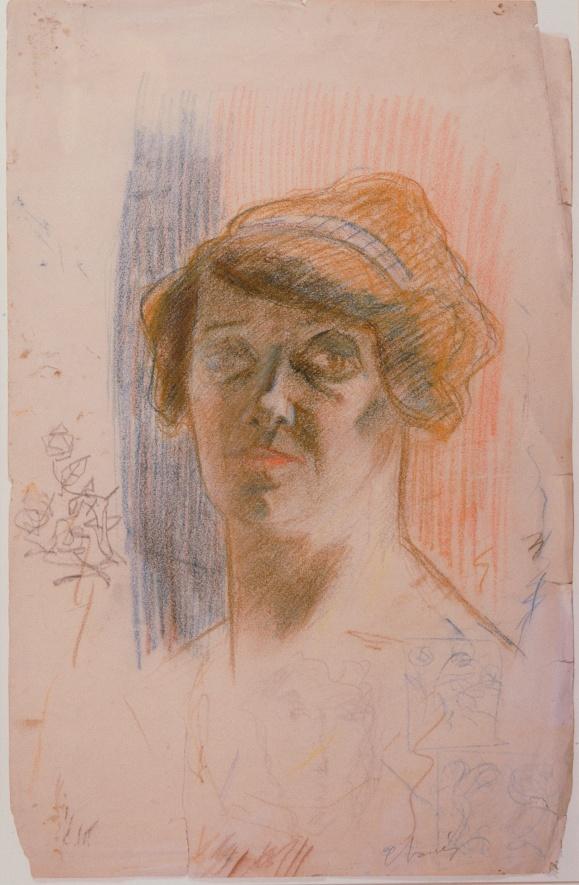 Portrait de sa mère, crayon de couleur sur papier, vers 1905.